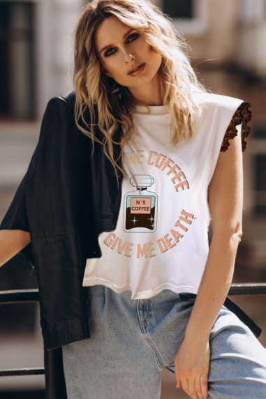 Camiseta de mujer COFFEE Blanca