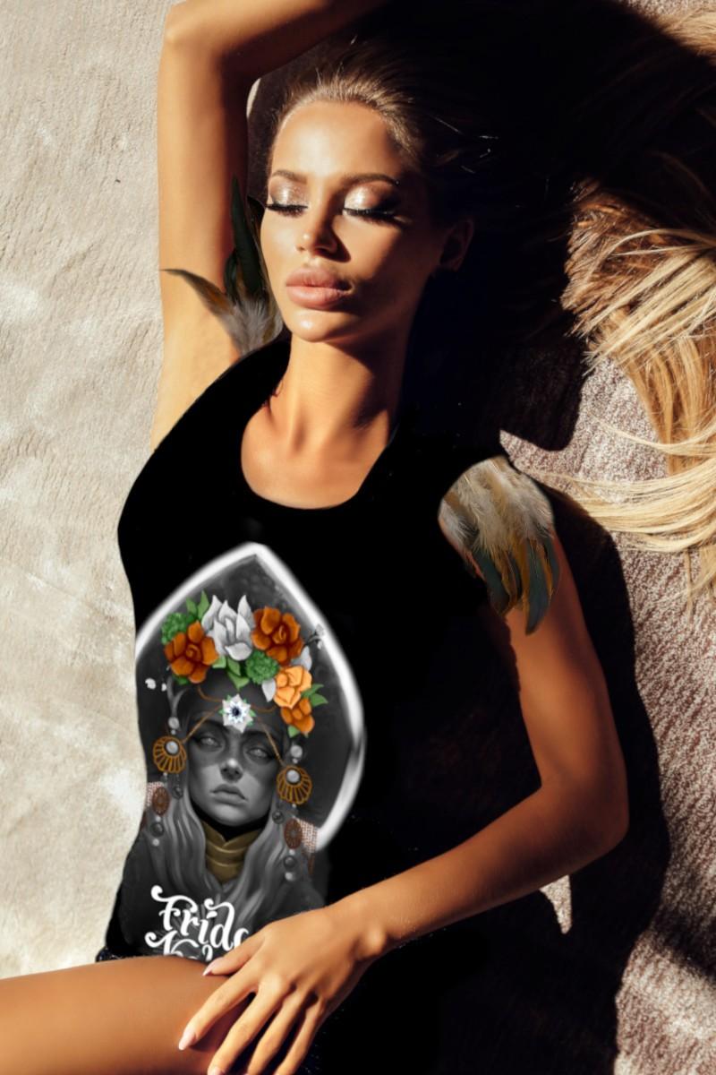 Vestido de mujer con plumas KAHLO negro