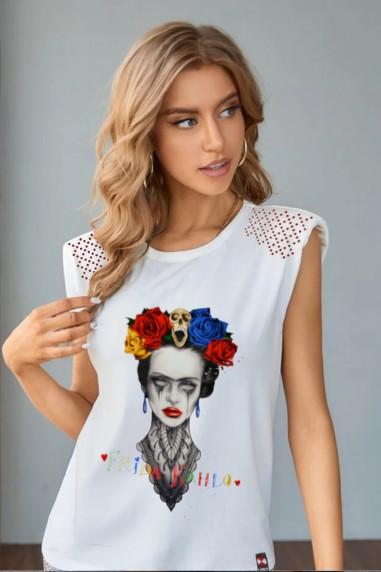 Camiseta de mujer FRIDA RED blanca