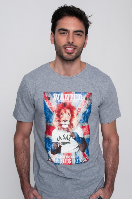 TSHIRT WANTED LION GRIS