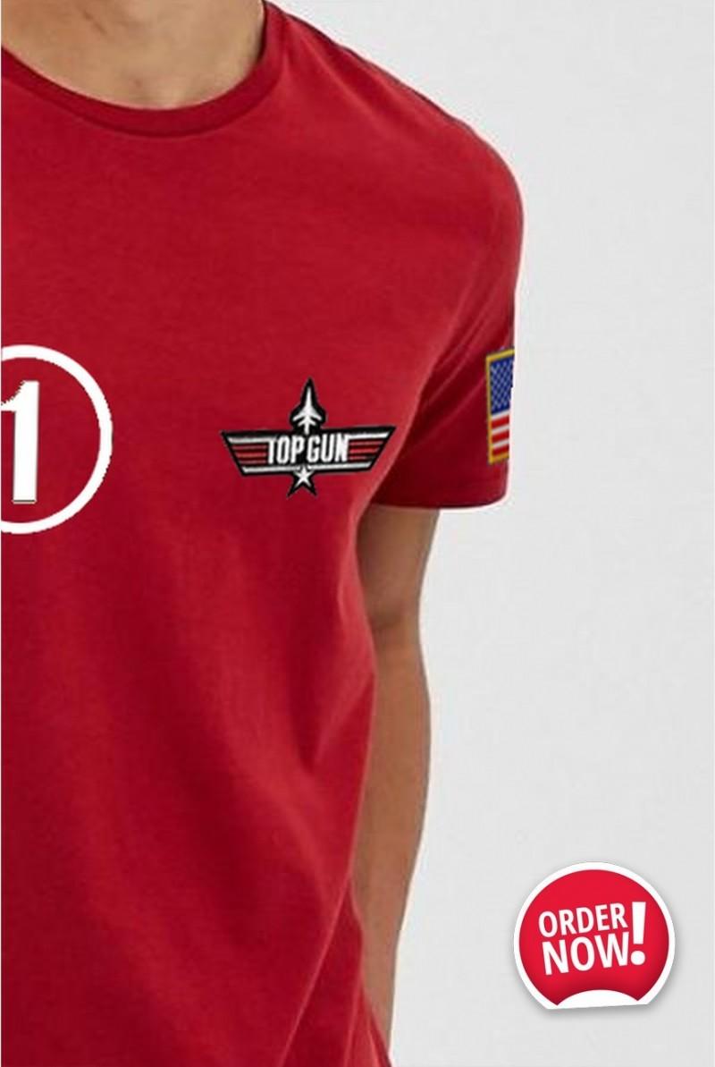 Camiseta Unisex Top Gun Iceman roja