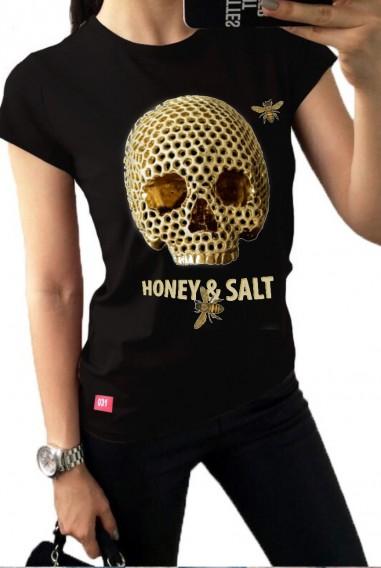 Camiseta Mujer Fit Honey Negra