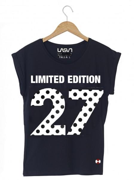Camiseta Mujer Oversize Lunars negra