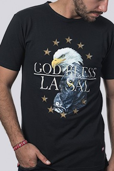 Camiseta Hombre Pique God Bless negra