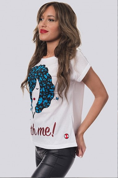 Camiseta Mujer Oversize Come Fly blanca