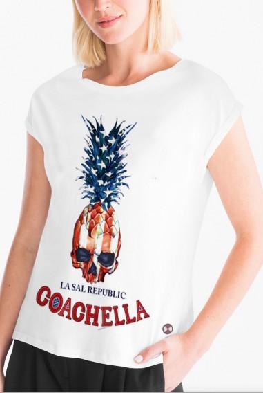 Camiseta Mujer Oversize Coachella blanca