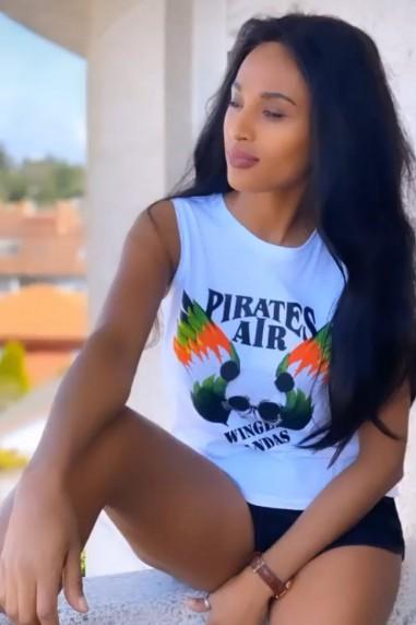 Camiseta sin mangas Mujer Pirates blanca