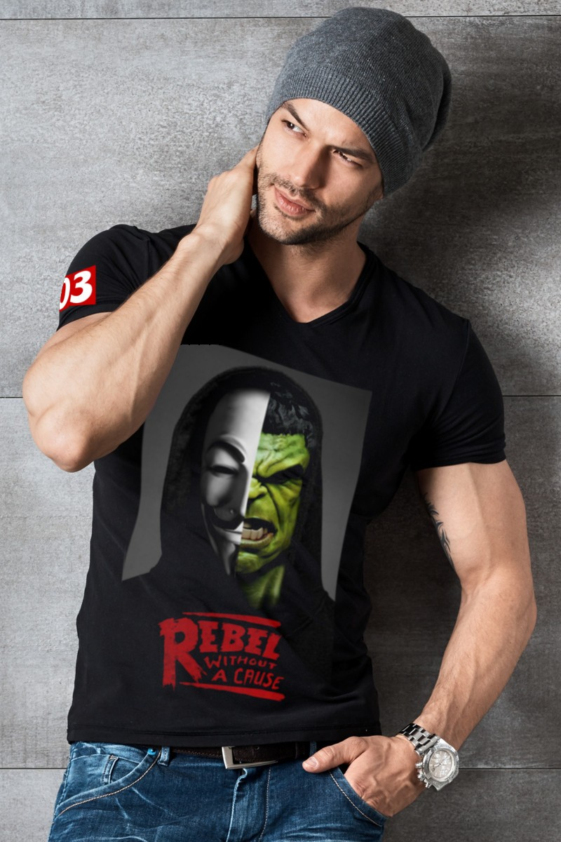 Camiseta de hombre Rebels Hulk color negro