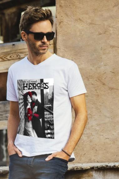 Camiseta hombre Heroes color blanco