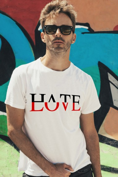 Camiseta hombre Hate  color blanco