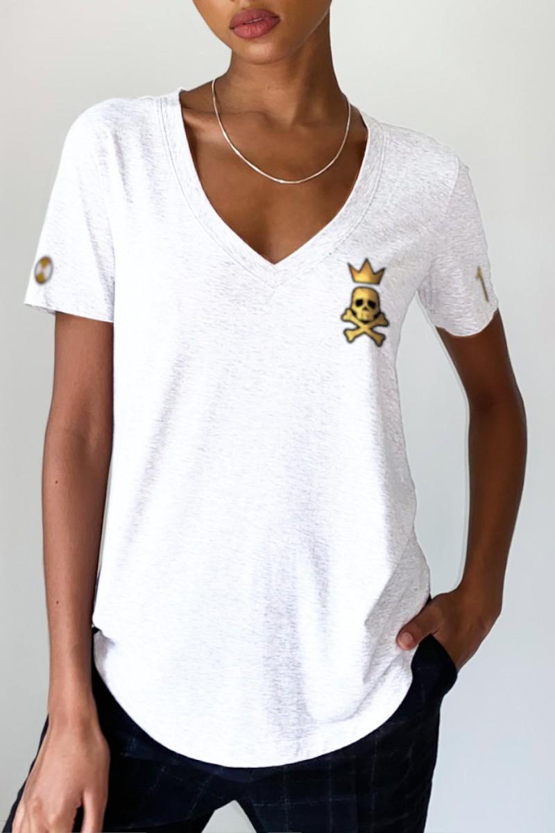 Camiseta de mujer KING blanca desgastada