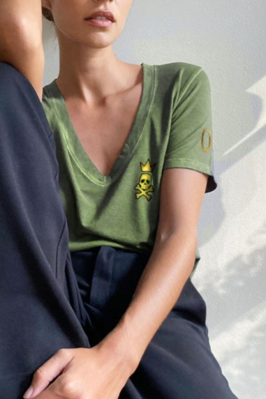 Camiseta de mujer KING kaki
