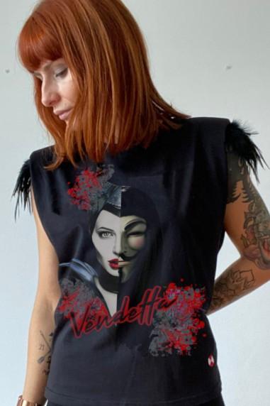 Camiseta de mujer con hombreras V...