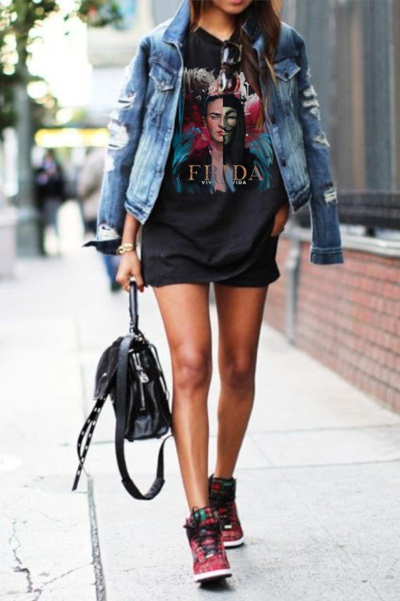 Vestido de mujer V FRIDA negro