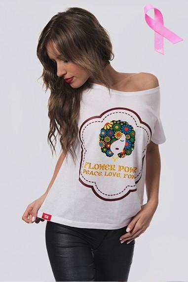Camiseta Mujer Oversize Flower blanca